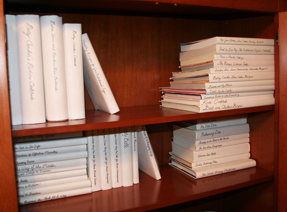 Picture of books in white book jackets